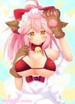 :3 animal_ear_fluff animal_ears apron bangs bell bell_collar blush breasts cat_hair_ornament cat_paws cleavage collar collarbone eyebrows_visible_through_hair fate/extra fate/grand_order fate_(series) fox_ears fox_girl gloves hair_ornament hair_ribbon hiiro_yuya jingle_bell large_breasts long_hair maid_headdress paw_gloves paws pink_hair ponytail red_ribbon ribbon tamamo_(fate)_(all) tamamo_cat_(fate) yellow_eyes