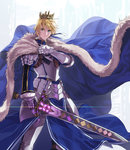 1boy armor arthur_pendragon_(fate) bangs belt_buckle blonde_hair blue_cloak blue_ribbon breastplate brown_belt buckle cape closed_mouth commentary_request crown diffraction_spikes excalibur_(fate/prototype) fate/grand_order fate/prototype fate_(series) faulds fur-trimmed_cloak fur-trimmed_sleeves fur_trim gauntlets glowing greaves green_eyes hair_ribbon hand_up holding holding_sword holding_weapon loincloth long_sleeves looking_at_viewer male_focus pauldrons rainbow ribbon serious solo standing sword weapon wind yahako