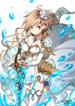 1girl bangs breasts brown_eyes brown_hair cleavage closed_mouth commentary_request cosplay djeeta_(granblue_fantasy) dress eyebrows_visible_through_hair flower granblue_fantasy hair_between_eyes hair_flower hair_ornament holding holding_sword holding_weapon looking_at_viewer medium_breasts ragho_no_erika rose signature simple_background smile solo standing strapless strapless_dress sword the_glory the_glory_(cosplay) thighhighs water_drop weapon white_background white_dress white_flower white_legwear white_rose