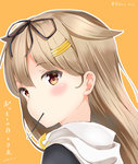 1girl absurdres aihime_riyo bangs black_ribbon black_serafuku blonde_hair blush commentary dated eyebrows_visible_through_hair food food_in_mouth gradient_hair green_eyes hair_between_eyes hair_flaps hair_ornament hair_ribbon hairclip highres kantai_collection long_hair looking_at_viewer looking_back mouth_hold multicolored_hair outline pocky pocky_day remodel_(kantai_collection) ribbon scarf school_uniform serafuku signature simple_background straight_hair translated twitter_username white_outline white_scarf yuudachi_(kantai_collection)