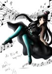 """1girl 2016 akiyama_mio beamed_eighth_notes beamed_sixteenth_notes black_eyes black_hair don't_say_""""lazy"""" dress eighth_note hat highres k-on! musical_note quarter_note smile solo top_hat zen.c"""