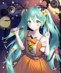 1girl animal_ears aqua_hair bat blush bow cat_ears cat_tail collarbone commentary_request dot_nose dress eyebrows_visible_through_hair hair_between_eyes hair_bow halloween hatsune_miku highres holding holding_microphone long_hair looking_at_viewer microphone moon multiple_bows nay number orange_dress pumpkin red_bow sleeveless smile solo tail thighhighs twintails very_long_hair vocaloid