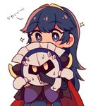 black_cape blue_eyes blue_hair cape commentary fingerless_gloves fire_emblem fire_emblem_awakening gloves highres hug kirby_(series) looking_at_another lucina mask meta_knight nacooo23 pauldrons red_cape sparkle super_smash_bros. sweat tiara white_mittens yellow_eyes