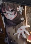 1girl bangs blush brown_eyes brown_hair coat commentary from_above glasses hand_up holding_bag looking_at_viewer nekobaka open_mouth original outstretched_hand scarf smile snow snowflakes solo