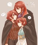 1boy 2girls armor blush brother_and_sister closed_eyes dress fire_emblem fire_emblem:_monshou_no_nazo hairband headband hug long_hair maria_(fire_emblem) minerva_(fire_emblem) misheil_(fire_emblem) multiple_girls red_eyes red_hair short_hair siblings sisters smile
