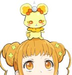 1girl :3 bear blush_stickers dokidoki!_precure double_bun face hirosuke_(psychexx) looking_up orange_eyes orange_hair precure rance_(dokidoki!_precure) simple_background sitting sitting_on_head sitting_on_person white_background yotsuba_alice