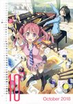2018 2girls :d absurdres bangs black_hair black_legwear blue_shirt blush calendar canvas_(object) cardigan collared_shirt day easel eyebrows_visible_through_hair foreshortening hair_between_eyes highres holding holding_paintbrush huge_filesize indoors instrument kantoku kurumi_(kantoku) leaning_back loafers long_hair multiple_girls necktie october one_side_up open_mouth original outstretched_arms paint paint_can paintbrush palette piano pink_cardigan pink_eyes pink_hair plaid plaid_skirt pleated_skirt purple_eyes sailor_collar scan school_uniform serafuku shirt shizuku_(kantoku) shoes sitting skirt sleeves_folded_up sleeves_past_wrists smile standing thighhighs twintails v-shaped_eyebrows white_sailor_collar white_shirt wind wind_lift window