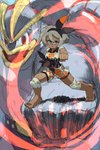 1girl 1other abs alex_ahad barefoot black_leotard blue_eyes breasts clenched_hands commentary covered_navel crop_top dark_skin english_commentary fighting_stance full_body grey_hair hairband highres karate knee_pads leotard leotard_under_clothes machamp pokemon pokemon_(game) pokemon_swsh punching red_eyes saitou_(pokemon) serious short_hair short_sleeves shorts solo_focus