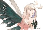 1girl anne_(bravely_second) antenna_hair black_leotard bravely_default_(series) bravely_second:_end_layer brown_eyes brown_hair commentary_request expressionless fairy_wings from_behind highres ikusy leotard long_hair looking_back official_art pointy_ears sketch solo upper_body wings