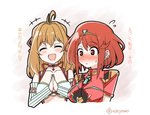 2girls armor bangs blonde_hair breasts closed_eyes crotchless_pants earrings fingerless_gloves fiorun gloves hair_ornament homura_(xenoblade_2) jewelry large_breasts long_hair mochimochi_(xseynao) multiple_girls open_mouth red_eyes red_hair red_shorts short_hair shorts shoulder_armor smile swept_bangs tiara translation_request xenoblade_(series) xenoblade_1 xenoblade_2