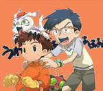 2boys bag blue_hair digimon digimon_adventure dress_shirt glasses gloves gomamon izumi_koushirou kido_jou multiple_boys red_hair scared screaming shirt shorts sweatdrop t_k_g tentomon vest