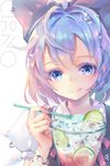 1girl artist_name blouse blue_bow blue_dress blue_eyes blue_hair blush bow character_name cirno commentary_request dress dress_shirt eyebrows_visible_through_hair eyelashes food fruit hair_bow highres holding ice ice_cream ice_cream_cup ice_cream_spoon ice_wings licking_lips lime_slice looking_at_viewer puffy_short_sleeves puffy_sleeves red_ribbon ribbon shirt short_hair short_sleeves simple_background solo spoon tongue tongue_out touhou tuanz upper_body water_drop watermark white_background white_blouse white_shirt wings