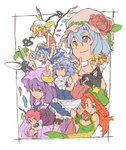 6+girls :/ :o adapted_costume alternate_costume alternate_hair_length alternate_hairstyle apron armband arms_up bare_shoulders bat_wings beret bespectacled black_border blonde_hair bloomers blue_dress blue_eyes blue_hair border bow braid cirno collarbone commentary_request crescent crescent_moon_pin daiyousei detached_wings dragon_print dress dress_shirt expressionless eyebrows_visible_through_hair fairy_wings fang flandre_scarlet flower frown glasses graphite_(medium) green_hair hair_between_eyes hair_bow hat hat_flower hat_ornament head_wings highres hong_meiling ice ice_wings izayoi_sakuya knife knife_holster koakuma laevatein legband long_hair long_sleeves looking_at_another looking_up low_wings lying maid maid_headdress mechanical_pencil mob_cap multiple_girls necktie numa_(minus_4k) on_stomach patchouli_knowledge pencil pince-nez pocket_watch puffy_short_sleeves puffy_sleeves purple_dress purple_eyes purple_hair red_eyes red_neckwear remilia_scarlet rose rumia serious shirt short_hair short_sleeves side_ponytail sidelocks simple_background sitting sitting_on_person skirt skirt_set sleeveless sleeveless_shirt star the_embodiment_of_scarlet_devil touhou traditional_media twin_braids unbuttoned underwear v-shaped_eyebrows vest waist_apron watch white_background white_shirt wings wrist_cuffs