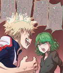 1boy 1girl anger_vein angry arguing bakugou_katsuki blonde_hair boku_no_hero_academia commentary crossover curly_hair green_eyes green_hair highres ogry_ching one-punch_man open_mouth short_hair spiked_hair tatsumaki translated