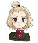 1girl alternate_hairstyle bangs blonde_hair blue_eyes closed_mouth commentary cropped_torso emblem eyebrows_visible_through_hair forehead front_ponytail frown girls_und_panzer green_jacket hair_tie hair_up jacket katyusha long_sleeves looking_at_viewer nogitatsu portrait pravda_school_uniform red_shirt school_uniform shirt short_hair simple_background solo turtleneck white_background