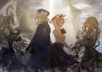 1boy 3girls armor armored_dress axis_powers_hetalia banner black_dress black_gloves black_hat black_skirt blonde_hair breasts character_request closed_eyes crossover dress fate/grand_order fate_(series) floating_hair flower france_(hetalia) from_side gauntlets gloves grey_dress hair_flower hair_ornament hat head_wreath holding holding_hands holding_weapon jeanne_d'arc_(alter)_(fate) jeanne_d'arc_(fate) jeanne_d'arc_(fate)_(all) jeanne_d'arc_(hetalia) long_hair medium_breasts meme_attire multiple_girls navel_cutout open_mouth outdoors shirt short_hair skirt sleeveless sleeveless_dress sun_hat very_long_hair virgin_killer_outfit weapon white_flower white_shirt yoshiki_(reborunlove)