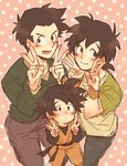 3boys black_eyes black_hair dougi dragon_ball dragon_ball_gt dragon_ball_z eyebrows_visible_through_hair long_sleeves male_focus multiple_boys multiple_persona open_mouth pink_background short_hair simple_background smile son_goten spiked_hair v white_background wristband