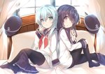 2girls akatsuki_(kantai_collection) back-to-back bed black_hair black_legwear blue_eyes blue_hair blue_skirt commentary_request curtains feet from_side hand_on_own_knee hand_to_own_mouth hat headwear_removed hibiki_(kantai_collection) highres holding holding_hair kantai_collection knee_up legs long_hair looking_at_viewer mayuzaki_yuu multiple_girls no_shoes pantyhose pillow purple_eyes school_uniform see-through serafuku shirt sitting skirt skirt_around_one_leg soles thighhighs toes white_shirt window