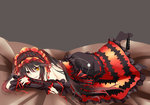 1girl :p absurdres artist_request black_hair breasts clock_eyes date_a_live gothic_lolita highres lolita_fashion long_hair lying on_stomach panties panties_around_one_leg red_eyes solo symbol-shaped_pupils tokisaki_kurumi tongue tongue_out underwear