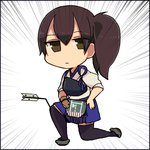 1girl arrow arrow_to_the_knee emphasis_lines gloves hakama hanamomomomomo japanese_clothes kaga_(kantai_collection) kantai_collection kneeling muneate parody short_hair side_ponytail skirt solo tasuki the_elder_scrolls the_elder_scrolls_v:_skyrim thighhighs zettai_ryouiki
