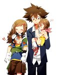 !? 2boys 2girls ^_^ blush brother_and_sister brown_hair carrying closed_eyes digimon digimon_adventure dual_persona embarrassed gloves goggles goggles_on_head hair_ornament hairclip hug hug_from_behind long_sleeves maro_(lij512) multiple_boys multiple_girls older scarf school_uniform short_hair shorts siblings smile socks star time_paradox yagami_hikari yagami_taichi