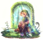 1boy 1girl belt blonde_hair blue_eyes boots fairy fairy_wings flower forest grass green_tunic instrument link nature navi ocarina phrygian_cap pointy_ears pond poroi_(poro586) smile the_legend_of_zelda the_legend_of_zelda:_ocarina_of_time tree_stump tunic wings young_link