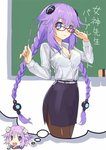 1girl blue_eyes blush braid breasts chalk chalkboard classroom cleavage d-pad glasses hair_ornament imagining long_hair looking_at_viewer neptune_(choujigen_game_neptune) neptune_(series) pantyhose purple_hair purple_heart short_hair symbol-shaped_pupils teacher thought_bubble twin_braids very_long_hair