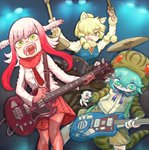 3girls :< absurdres adapted_costume alpaca_ears alpaca_suri_(kemono_friends) animal_ear_fluff animal_ears arms_up bangs bara_bara_(pop_pop) bass_guitar bird_wings blonde_hair buttons closed_mouth commentary_request contemporary drum drumming drumsticks electric_guitar eyebrows_visible_through_hair floating_hair fur-trimmed_sleeves fur_collar fur_trim gloves green_eyes green_hair guitar hair_between_eyes hair_over_one_eye head_wings highres holding holding_instrument hood hood_up hoodie horizontal_pupils instrument jacket japanese_crested_ibis_(kemono_friends) kemono_friends long_hair long_sleeves looking_at_viewer looking_down multicolored multicolored_eyes multicolored_hair multiple_girls music neck_ribbon necktie open_mouth pantyhose pink_hair plaid plaid_skirt playing_instrument pleated_skirt plectrum pocket red_gloves red_hair red_legwear ribbon shirt shorts skirt slit_pupils snake_tail standing striped_hoodie striped_tail sweater_vest tail tsuchinoko_(kemono_friends) two-tone_hair wings yellow_eyes