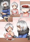 1boy 1girl ^_^ ahoge bib blush can cleaning closed_eyes comic commentary eating fate/grand_order fate_(series) food food_on_face fork fur_collar ginhaha hamburger_steak handkerchief holding jeanne_d'arc_(alter)_(fate) jeanne_d'arc_(fate)_(all) mother_and_son short_hair silent_comic silver_hair smile wicked_dragon_witch_ver._shinjuku_1999 yellow_eyes