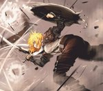 1girl between_breasts blonde_hair breasts commentary_request glaring highres jun_(seojh1029) large_breasts leaning_over leather_armor motion_blur motion_lines original shield shirt short_hair shortsword_(seojh1029) solo strap_between_breasts sword weapon