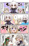 !? /\/\/\ 0_0 3girls 4koma :o :t absurdres age_regression ahoge armor armored_dress arrow arrow_through_heart barefoot bell black_dress blonde_hair blue_dress blush bow brown_eyes chibi closed_mouth comic commentary_request dress fate/apocrypha fate/grand_order fate_(series) flying_sweatdrops fur-trimmed_jacket fur-trimmed_sleeves fur_trim green_bow green_ribbon hair_bow headpiece heart heart-shaped_pupils highres jacket jako_(jakoo21) jeanne_d'arc_(alter)_(fate) jeanne_d'arc_(fate) jeanne_d'arc_(fate)_(all) jeanne_d'arc_alter_santa_lily long_sleeves multiple_girls nose_blush open_clothes open_jacket open_mouth outstretched_arm pointing pout profile purple_jacket ribbon shaded_face striped striped_bow striped_ribbon sweat symbol-shaped_pupils tears translation_request turn_pale upper_teeth v-shaped_eyebrows wavy_mouth white_hair wicked_dragon_witch_ver._shinjuku_1999 younger