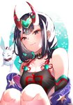 1girl bare_shoulders bob_cut breasts commentary fate/grand_order fate_(series) hazu_t looking_down off_shoulder oni oni_horns purple_eyes purple_hair red_ribbon ribbon short_eyebrows short_hair shuten_douji_(fate/grand_order) shuten_douji_(halloween_caster)_(fate) small_breasts smile solo