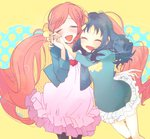 2girls :d ^_^ ^o^ blue_hair blush closed_eyes coat commentary_request cowboy_shot dress floral_print hair_ornament hair_scrunchie hanasaki_tsubomi heart heartcatch_precure! holding_hands interlocked_fingers kurumi_erika long_hair long_sleeves multiple_girls open_mouth pantyhose partial_commentary polka_dot precure red_hair runrundx scrunchie shirt skirt smile twintails very_long_hair yellow_background