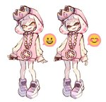 +_+ 1girl bangs blunt_bangs cellphone commentary crown domino_mask dress expressions fang gem head_tilt hime_(splatoon) holding holding_cellphone holding_phone jewelry long_sleeves mask medium_hair mole mole_under_mouth necklace open_mouth pendant phone pink_dress pink_hair sen_squid shoes simple_background smile smiley_face splatoon_(series) splatoon_2 sweater sweater_dress symbol_commentary tentacle_hair white_background white_footwear white_hair yellow_eyes