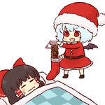 2girls :d =_= bat_wings batta_(ijigen_debris) blue_hair chibi food futon hakurei_reimu hat multiple_girls nattou open_mouth pouring prank red_eyes remilia_scarlet santa_costume santa_hat short_hair simple_background sleeping smile socks touhou wavy_mouth white_background wings
