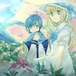 1boy 1girl ahoge animal animal_on_shoulder bangs bird bird_on_shoulder blonde_hair blue_bow blue_eyes blue_hair blue_scarf blunt_bangs bow bowtie commentary_request crossover dress fish hat hat_bow jacket kaito kohaku7776 long_hair long_sleeves looking_away outdoors parted_lips puffy_short_sleeves puffy_sleeves scarf seaweed short_sleeves shouka_tori sky utau vocaloid white_dress white_headwear white_jacket