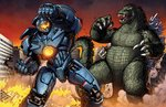 1boy blank_eyes city claws commentary crossover dan-the-artguy destruction duel english_commentary fire gipsy_danger godzilla godzilla_(series) kaijuu male_focus mecha monster no_humans open_mouth pacific_rim punching scales science_fiction sharp_teeth sunset tail teeth tokusatsu visor western_comics