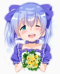 1girl ;d bangs blue_bow blue_choker blue_eyes blue_hair bouquet bow cacao_(chocolat) choker collarbone crying crying_with_eyes_open eyebrows_visible_through_hair flower frilled_shirt frills gloves grey_background hair_between_eyes hair_bow head_tilt heart highres holding holding_bouquet nijisanji one_eye_closed open_mouth puffy_short_sleeves puffy_sleeves round_teeth shirt short_sleeves simple_background smile solo tears teeth twintails upper_teeth virtual_youtuber white_flower white_gloves white_shirt yellow_flower yuuki_chihiro