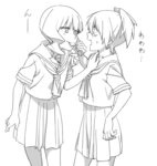 2girls bangs black_rock_shooter blunt_bangs blush commentary_request food_in_mouth greyscale hand_on_another's_shoulder imminent_kiss kuroi_mato lineart monochrome multiple_girls open_mouth school_uniform short_hair sweat takanashi_yomi tatsuki3594 twintails yuri