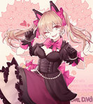 1girl alternate_costume animal_ears black_cat_d.va black_dress black_gloves blonde_hair bow breasts cat_ears character_name cleavage corset cowboy_shot d.va_(overwatch) dress earrings frilled_dress frills gloves heart heart_earrings jewelry lolita_fashion looking_at_viewer medium_breasts open_mouth overwatch pink_background pink_bow puffy_short_sleeves puffy_sleeves short_sleeves smile solo twintails zhong_chai