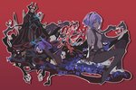 2boys 2girls armor assassin_(fate/zero) bare_shoulders black_gloves breasts dark_skin fate/grand_order fate/prototype fate/prototype:_fragments_of_blue_and_silver fate/zero fate_(series) fingerless_gloves gloves hairband hassan_of_serenity_(fate) horns ideolo king_hassan_(fate/grand_order) long_hair mask multiple_boys multiple_girls ponytail red_background revealing_clothes short_hair simple_background sitting smile true_assassin