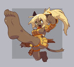 1girl animal_ears barefoot blonde_hair breasts cat_ears clenched_hand commentary dark_skin ecaflip fangs feet foreshortening kicking large_breasts long_hair open_mouth ponytail pov_feet sideboob soles solo tail wakfu yellow_eyes zankuro