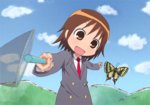 1girl blazer brown_eyes brown_hair bug butterfly butterfly_net cloud day dondurma foreshortening graphite_(medium) hand_net insect jacket kill_me_baby motion_blur necktie open_mouth oribe_yasuna outdoors red_neckwear school_uniform short_hair sky solo traditional_media