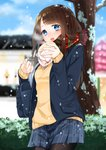 1girl absurdres bag black_legwear blue_eyes blush brown_hair day duffel_bag eating etto_eat eyebrows_visible_through_hair hair_ornament hairclip highres long_hair long_sleeves looking_at_viewer open_mouth original outdoors pantyhose school_uniform signature skirt sleeves_past_wrists snowing solo