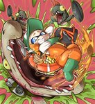 1girl baseball_cap boots bucket chum_(splatoon) domino_mask frying_pan gloves hat inkling looking_back mask orange_hair pointy_ears red_background rope rubber_boots rubber_gloves salmonid scared short_hair simple_background slosher_(splatoon) splatoon splatoon_2 steelhead_(splatoon) sweat tearing_up tentacle_hair uniform