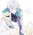 1boy asclepius_(fate/grand_order) bangs blue_eyes commentary_request directional_arrow eyebrows_visible_through_hair fate/extra fate/extra_ccc fate/grand_order fate_(series) long_hair long_sleeves looking_at_viewer meltryllis silver_hair simple_background sleeves_past_fingers sleeves_past_wrists solo standing white_background yo_ru_wie
