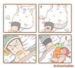 ! 1boy 1girl 4koma 4panels anger_vein animal_ears artist_name black_hair blank_eyes blush braid bunny bunny_ears bunny_girl carrot chibi comic drooling fang greenteaneko heavy nora_(greenteaneko) numbered_panels object_hug original pajamas red_hair silent_comic single_braid sleeping square_4koma stuffed_carrot sweat tears under_covers zzz