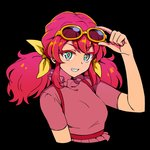 1girl aikatsu!_(series) aikatsu_friends! aqua_eyes asuka_mirai_(aikatsu_friends!) black_background bow close-up commentary_request cropped_arms cropped_torso dress eyebrows_visible_through_hair grin long_hair looking_at_viewer red_hair removing_eyewear short_sleeves smile solo sunglasses twintails upper_body yoban