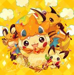 :3 apple artist_name berry cape charizard_(cosplay) dedenne food fruit hooded_cloak instrument lightning_bolt no_humans pichu pikachu pokemon raichu smile staff trumpet welchino