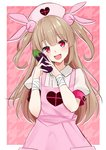1girl :d >_< absurdres apron armband bangs blush bunny_hair_ornament center_frills collared_shirt commentary_request eggplant eyebrows_visible_through_hair fang food frills hair_between_eyes hair_ornament hands_up hat heart highres holding holding_food light_brown_hair long_hair looking_at_viewer mirea natori_sana nurse_cap open_mouth pink_apron pink_hat puffy_short_sleeves puffy_sleeves red_eyes sana_channel shirt short_sleeves smile solo two_side_up very_long_hair virtual_youtuber white_shirt